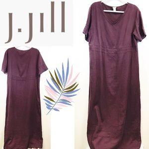 j.jill purple linen short sleeves long maxi size L